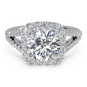 Ritani 1RZ1327 14K White Gold 0.50ctw Cushion Halo Split Shank Diamond Engagement Ring | Fame Diamonds