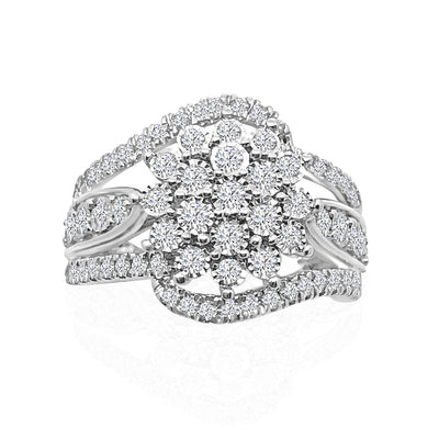 10k white gold 1.02 ctw diamond miracle cluster swirl ring