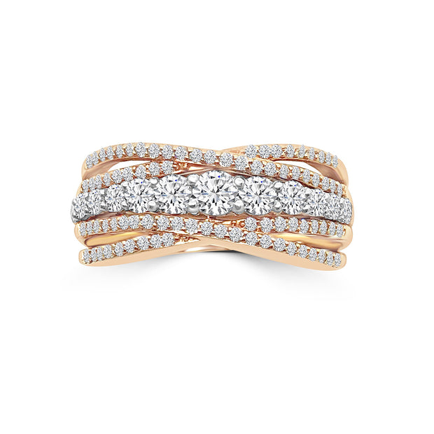 Rose gold diamond fashion ring 1.00 ctw
