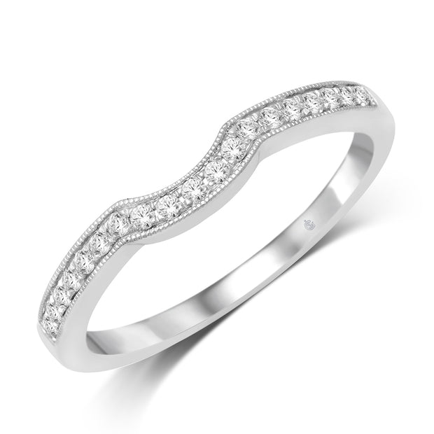 21957-W- 14 K White Gold 0.14 ctw Round Diamond Wedding Band
