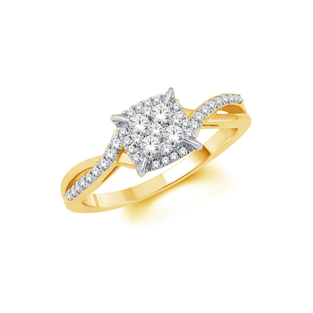 10K Yellow Gold  0.15 ctw Fancy Diamond Ring