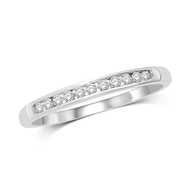 23773W- 10 K White Gold 0.2 ctw Round Diamond Wedding Band