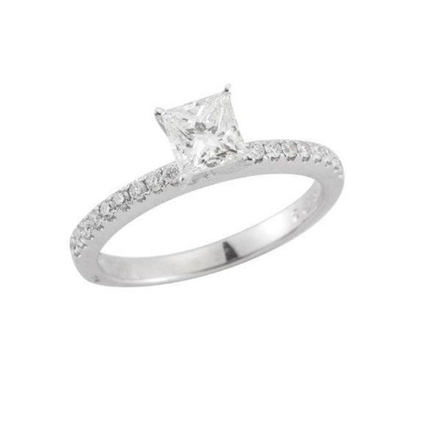 14 K White Gold Princess  Prong Set  Engagement Diamond Ring