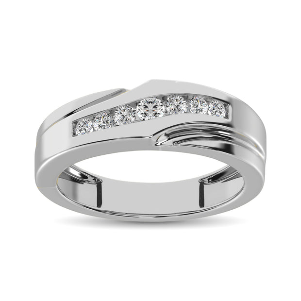 10K White Gold 1/4 Ct.Tw. Diamond Mens Band