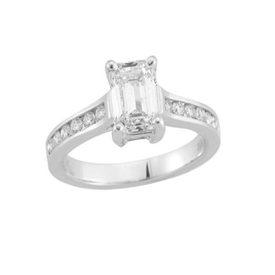 14 K White Gold Emerald Side Stone Engagement Diamond Ring