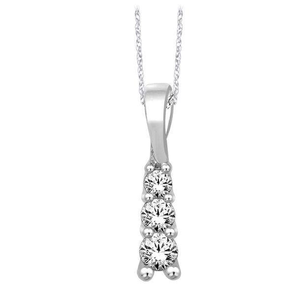 10 K White Gold 0.14ctw diamonds pendant