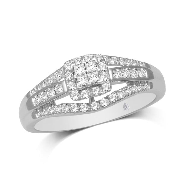 10K White Gold 1/2 Ct.Tw.Diamond Engagement Ring