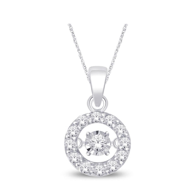 10KT- 10K White Gold 0.1ctw diamonds pendant