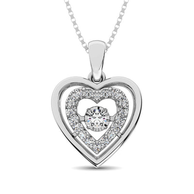 Sterling Silver 1/8 Ct.Tw. Moving Diamond Heart Pendant