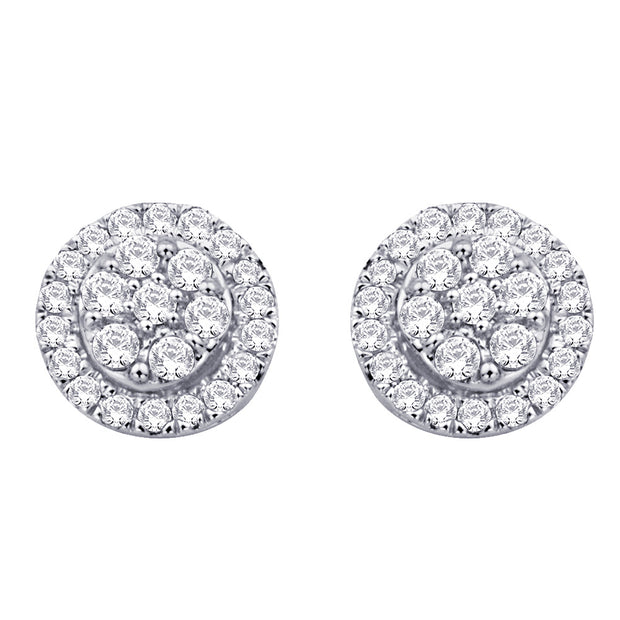 10K White Gold 1/4 Ct.Tw.Diamond Flower Stud Earrings