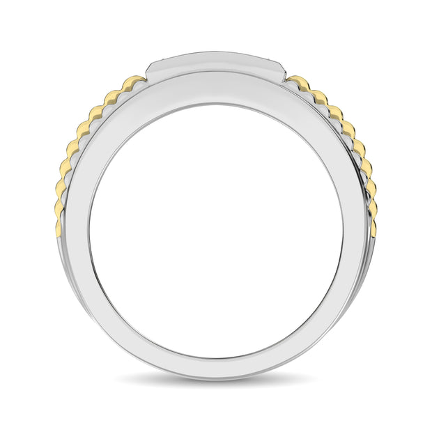 10K White Gold with Accent of 10K Yellow Gold 1/4 Ct.Tw. Diamond Mens Fashion Ring