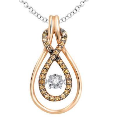 10K Rose Gold 0.17ctw diamonds pendant
