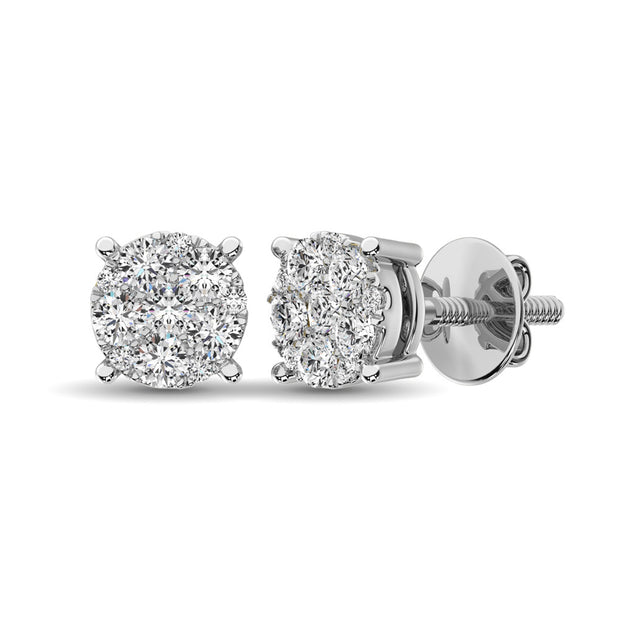 14K White Gold 2/5 Ct.Tw. Diamond Flower Studd Earrings