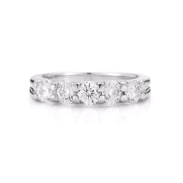 14K-White-Gold-0.25-Ctw-5-stone-Wedding-ring-fame-diamonds