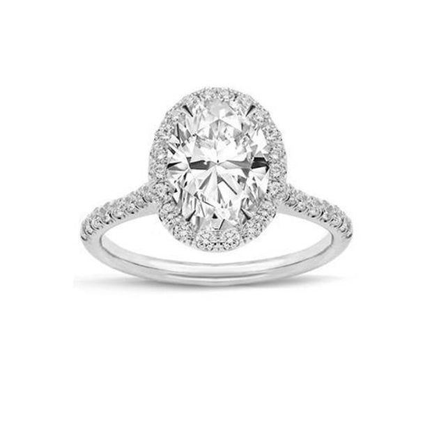 14 K White Gold 1.00ctw  Oval Halo stone  Ring  PRMAR180019