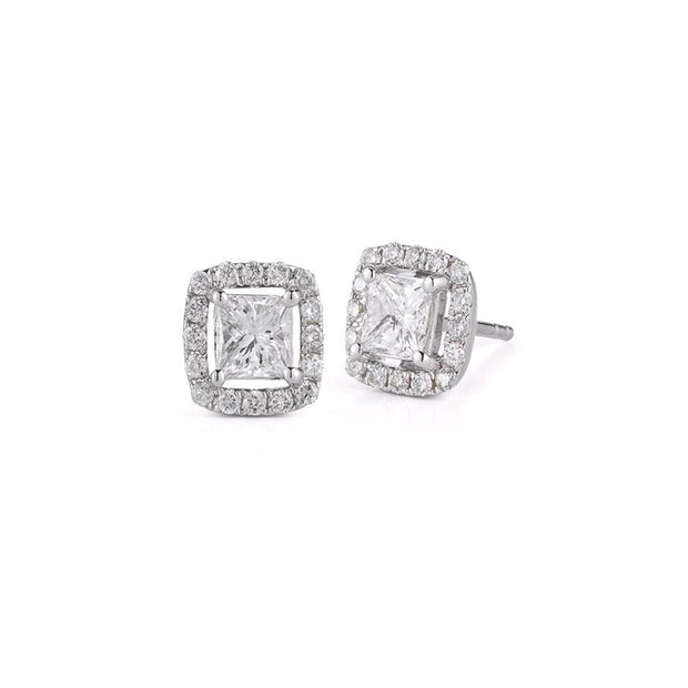 14 K Gold Princess Cut Halo Diamonds Stud Earrings