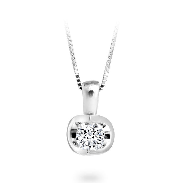 CR-P327 - 14 K White Gold and Diamond half moon chain Pendent