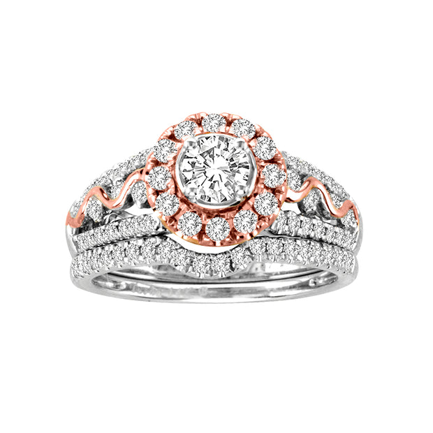 14-K-White-Rose-gold-1.01ctw -Multistone-Engagement-Diamond-Ring