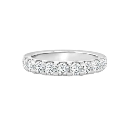 Shared Prong Diamond Band Made In 14K White Gold