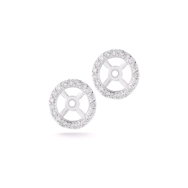 14K White Gold Round Earring Jackets