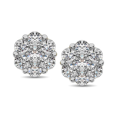 10K White Gold 1/5 Ct.Tw. Diamond Flower Studs Earrings