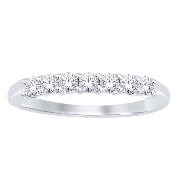 50099W- 14 K White Gold 0.49 ctw Round Diamond Wedding Band