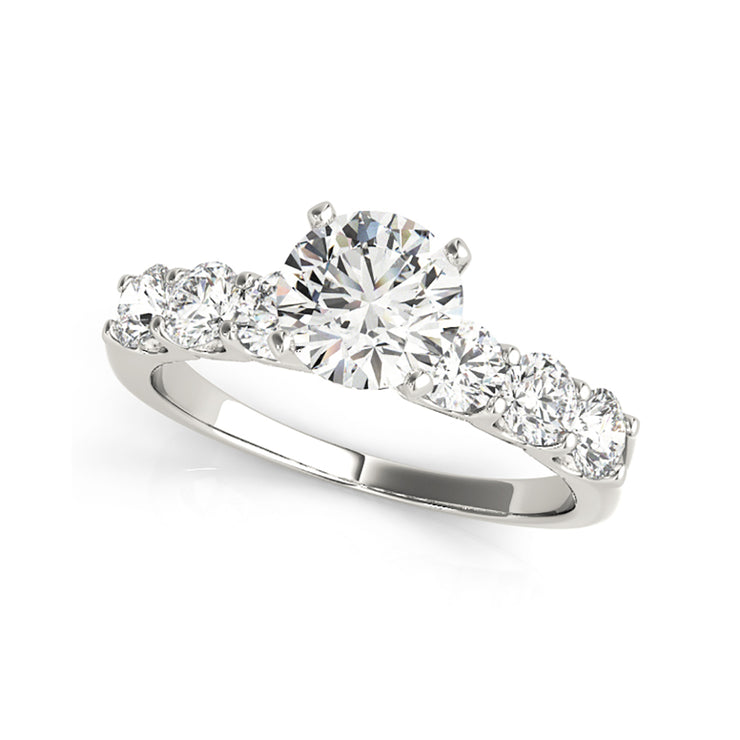 White Gold 1.10ctw Solitaire Prong-Set  Side-Diamonds Engagement Ring