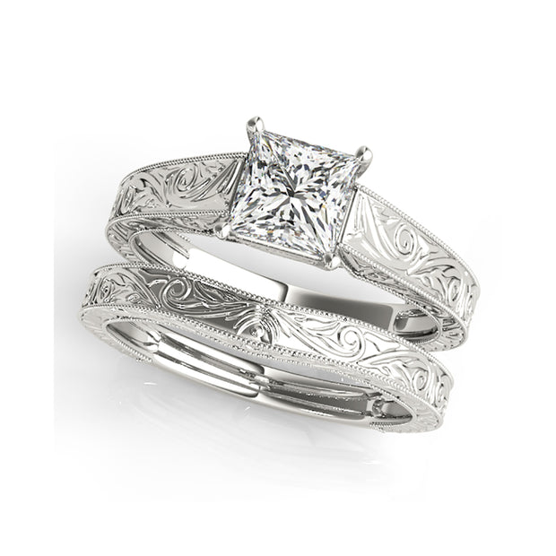 Carved Princess Cut Solitaire Diamond Engagement Ring