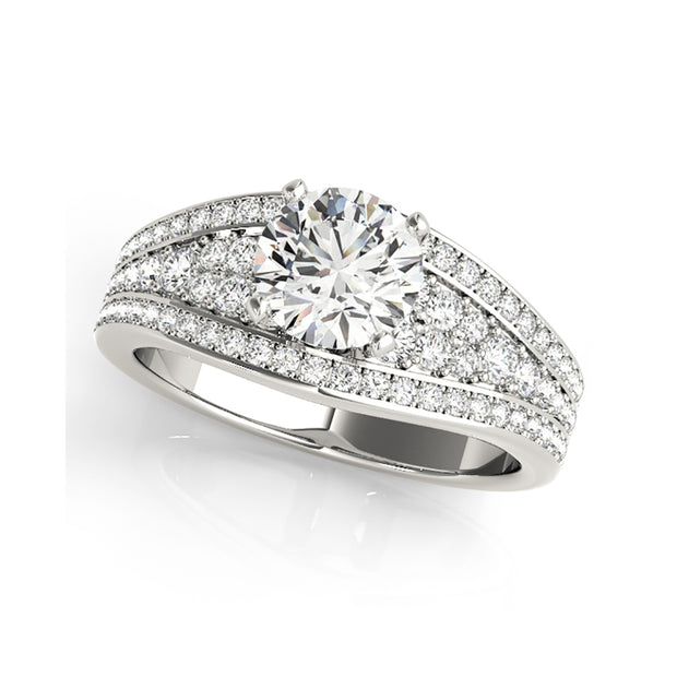 Solitaire With Wide Multi-Diamond Shank Engagement Ring