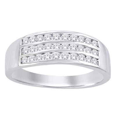 10K White Gold 5/8 Ct.Tw. Diamond Mens Band