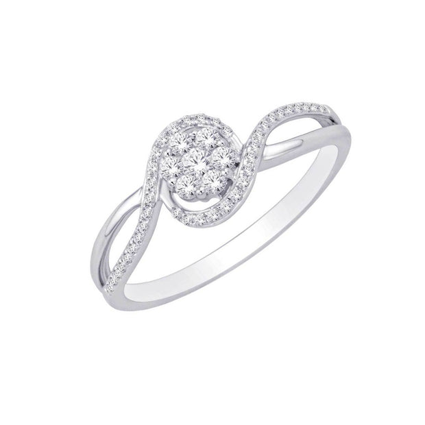 10 K White Gold  0.25 Ctw  Fancy Diamond Ring