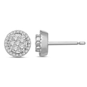 14K White Gold 1/3 Ct.Tw. Diamond Flower Stud Earrings