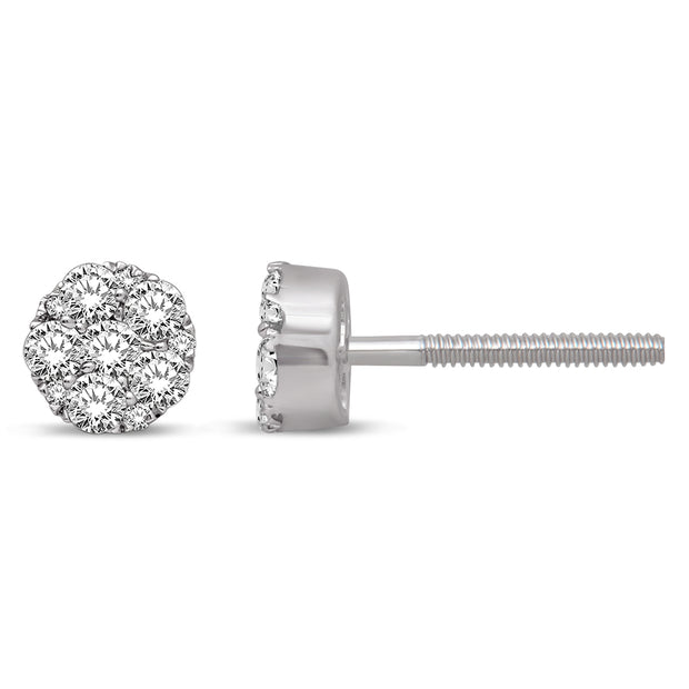 14K White Gold 2/5 Ct.Tw. Diamond Flower Stud Earrings