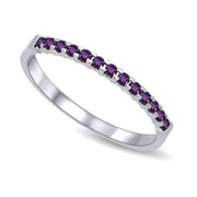 14K White Gold 1/4 Ctw Amethyst Machine Band