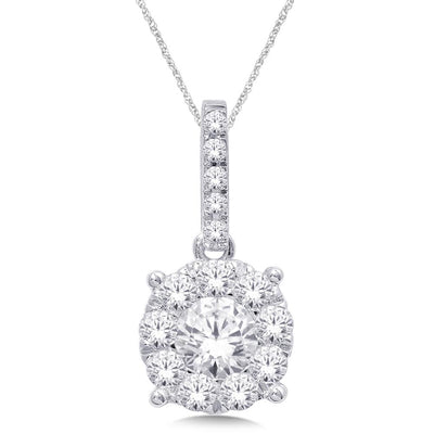 14K White Gold 0.9ctw diamonds pendant