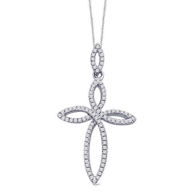10K White Gold 0.18ctw diamonds pendant