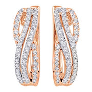 10K Two Tone 2/5 Ct.Tw. Diamond Hoop Earrings
