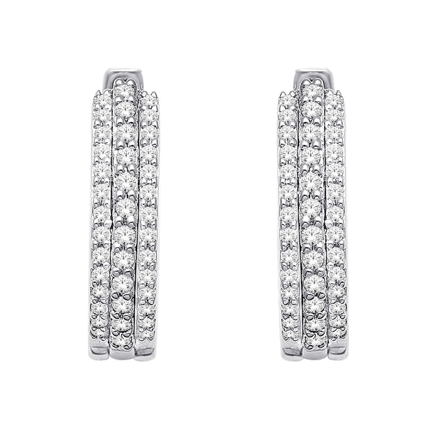 10K White Gold 0.25 Ctw. Diamond Hoop Earrings