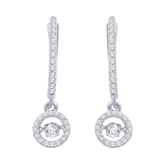 10K White Gold 2/5 Ct.Tw. Moving Diamond Fashion Earrings