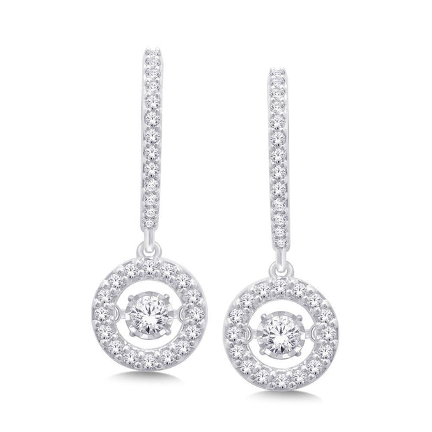10K White Gold Moving Diamond Fashion Earrings