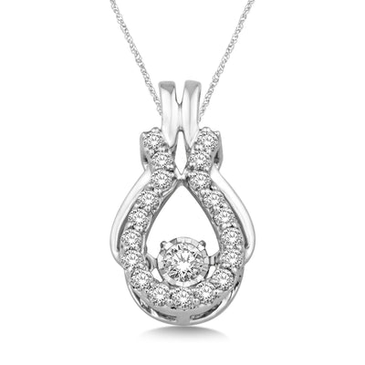 10K White Gold 0.4ctw diamonds pendant