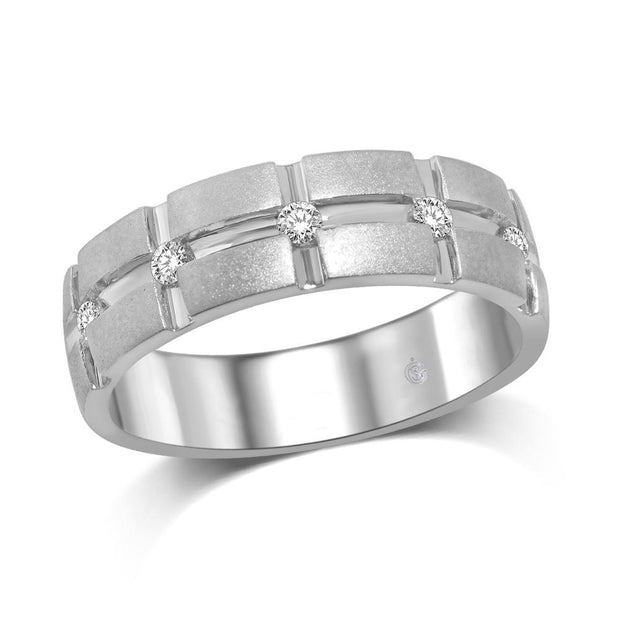 14K White Gold 1/6 Ct.Tw.Diamond Mens Machine Band