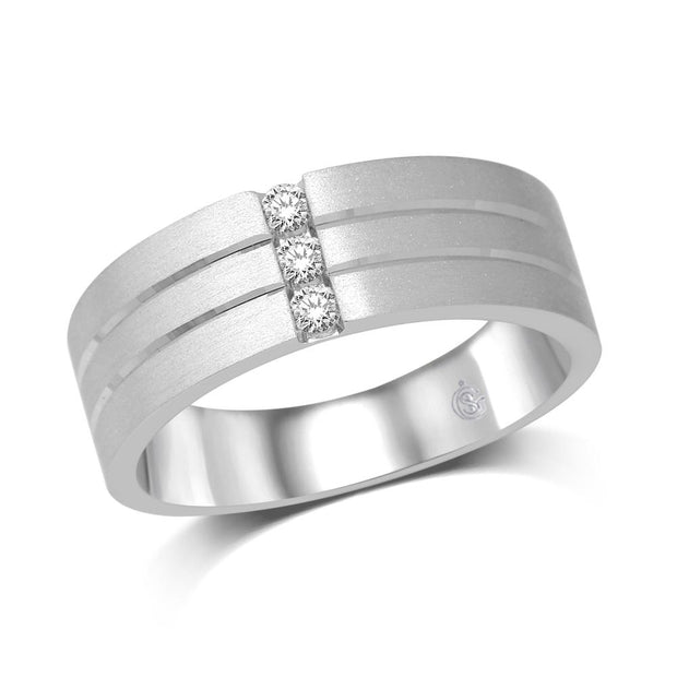 14K White Gold 1/10 Ct.Tw.Diamond Mens Machine Band