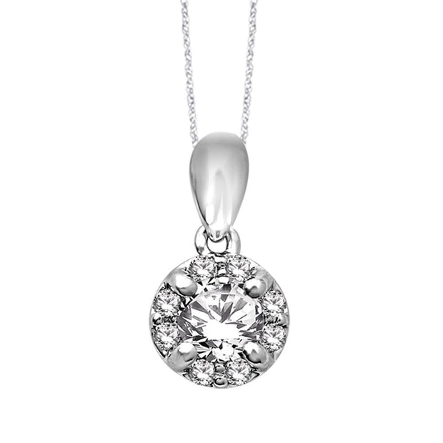 14K White Gold 0.33ctw diamonds pendant