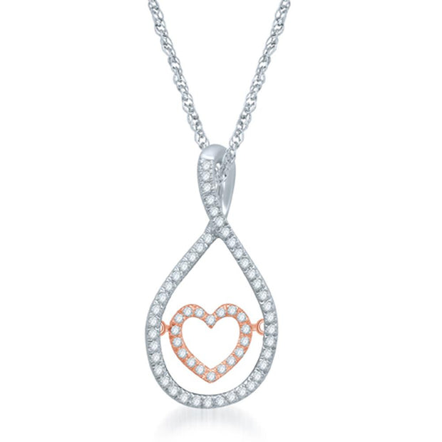 Sterling Silver 1/6 Ct.Tw. Glittering Beats Heart Fashion Pendant