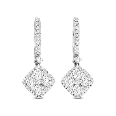 14K White Gold 1 1/4 Ct.Tw.Diamond Fashion Earrings