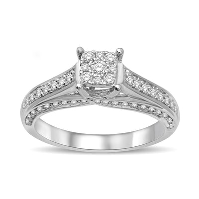 14K White Gold 1/2 Ct.Tw. Diamond Engagement Ring