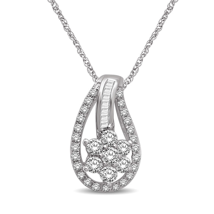 14K White Gold 2/5 Ct.Tw Diamond Fashion Pendant