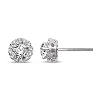 14K White Gold 7/8 Ct.Tw. Diamond Stud Earrings