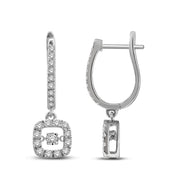 14K White Gold 0.62Ctw. Diamond Hoop Earrings